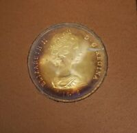 1976 TURKS AND CAICOS ELIZABETH II 20 CROWNS PROOF SILVER COIN WITH COLOR TONING