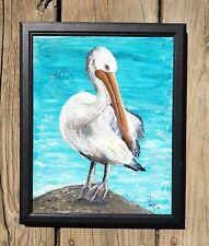 Pelican Acrylic Painting 8x10  Seaside Ocean Bird Original Neelie Art