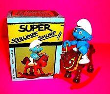Vtg Peyo Schleich VERY RARE SUPER SMURF Rocking Horse Toy Action Figure w BOX