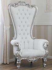 Poltrona Regina stile Barocco Moderno trono foglia argento ecopelle bianca botto