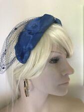 Blue Bow Hat 1960s American vintage Fascinator Back Veil