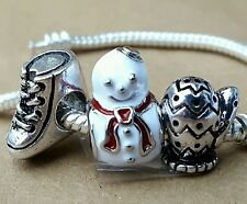 Winter Wonderland Snowman Mittens IceSkating Christmas European Charms Beads Set