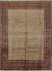 Vintage Tribal Oriental Mir Rug, 8'x11', Ivory/Red, Hand-Knotted Wool Pile