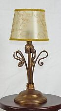 Lume antico lampada da tavolo ferro battuto paralume artigianale rustico art.670
