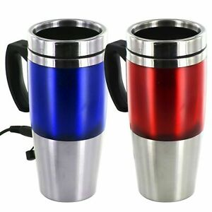 NEW 12V Auto USB Heated Travel Mug Stainless Steel Flask with Car & USB Charger