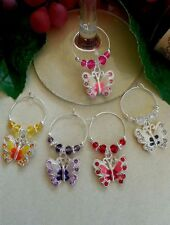 4 Different Colored Enameled Butterfly Wine Glass Charms - Holiday Gift Packaged