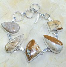 "Multi-Color Jasper Gemstone 100% Pure 925 Sterling Silver Bracelet 8"" #X7967"