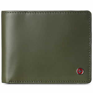Alpine Swiss Mens RFID Protected Leather Wallet Center Flip Commuter Bifold 2 ID