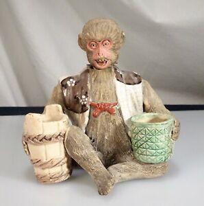Vintage Japanese Banko Wear Pottery Monkey Nodder Figurine - 56492