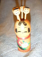 WOODEN JAPANESE CREATIVE KOKESHI DOLL TOOTHPICK HOLDER & 4 SKEWERS WOOD VINTAGE