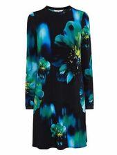 ex Coast Akoni Print Water Coloured Long Sleeve Shift Versatile Dress