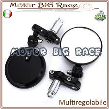 Specchietti Specchi Moto Bar End Manubrio per Cafe Racer Contrappesi Nero M301