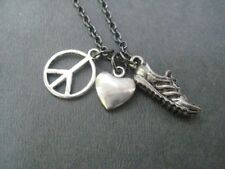 PEWTER PEACE LOVE RUN~18inch Gunemetal Chain NECKLACE~RUNNING JEWELRY