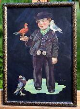 alter Druck Jan Wijga (1902-1978) hinter Glas Junge mit Tauben Künstlerarbeit