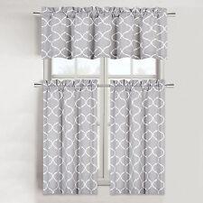 Shabby Lattice Cotton Blend Kitchen Curtain Tier & Valance Set - Assorted Colors