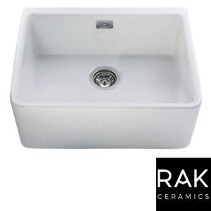 RAK Ceramics Gourmet Sink 2 1.0 Bowl White Ceramic Belfast Butler Kitchen Sink