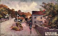 Millers Dale Derbyshire England Color Postkarte ~1910 Dorfpartie Frau ungelaufen