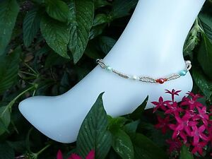 Mixed Charms Czech Glass Pearl Rondelle Bead Ankle Bracelet