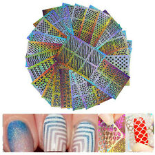 24 Sheets Laser Nail Vinyl Art Manicure Hollow Stencil Sticker Mermaid 24 Design
