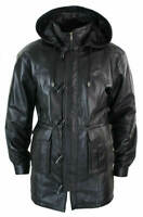 Mens Leather Jacket Black Detachable Hooded Duffel RAF Long Coat SS7