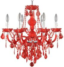 Chandelier Candle Style Red Acrylic Indoor Dimmable Adjustable Hanging Length