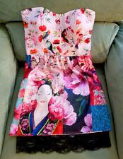 Anatopik pink bird floral DEVANE bustier dress size 38 6