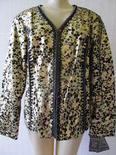 PAMELA McCOY METALLIC GOLD/BLACK LONG SLEEVE LEATHER JACKET SIZE L - NWT $199.00