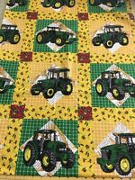 BTHY 18x44 JOHN DEERE Tractor Farm HEARTLAND Cheater Quilt Block COTTON Fabric