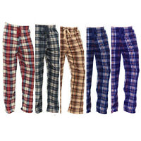 New Mens Cotton Flannel Plaid Pajama Sleep Pants Super Soft Lounge Bottoms PJs
