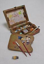 Casa De Muñecas Miniaturas llena de artista utilizados vieja caja de pinturas pinturas