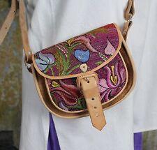 Crossbody Bag Hand Woven Fabric & Leather Handbag Maya Zinacantan Chiapas Mexico