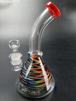 "10"" Hookah Shisha Water Pipe Bong Colored Beaker Glass Bongs Bent Neck 14.5mm"