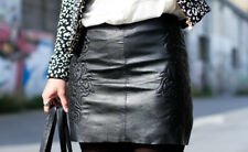 cc8984a5 NEW ZARA EMBROIDERED LEATHER MINI SKIRT BLACK SIZE S SOLD OUT