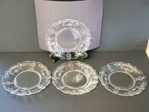 Fosteria Baroque Clear Etched Floral Bread And Butter Plate buttercup daisy desi
