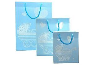 New Baby Boy Blue Silver Pram Gift Bag Present Large Medium Small Arrival Birth