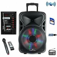 """beFree Sound 15""""*BLUETOOTH*Portable Rechargeable PARTY DJ PA SPEAKER*with LIGHTS"""