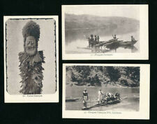 FRENCH COLONIES NEW CALEDONIA EARLY UB PPCs CANAQUE TABOU + PIROGUES 3 CARDS