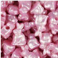 6 x 24mm Baby Pink Pearl Rabbit Pony Beads IDEAL FOR DUMMY CLIPS IN STOCK