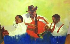 BASIL AFRICAN AMERICAN JAZZ BAND BASS KEYS & HORNS OIL ON CANVAS PAINTING
