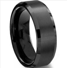 Black Mens 8 MM  Ring Size 11 Wedding Band Engagement Bridal Ring Gunmetal Men