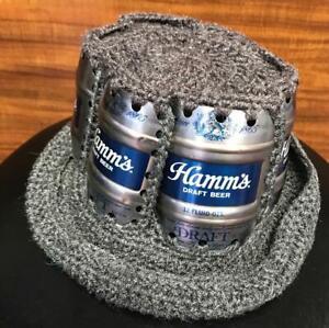 VINTAGE HAMM'S DRAFT BEER CAN CROCHET HAT