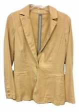 New Level 99 Anthropologie Yellow Beige Chintz Linen Long Collar Jacket Size S M
