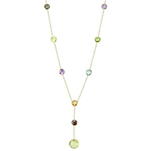 14K Yellow Gold Lariet Necklace With Fancy Cut Gemstones 16 Inches