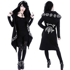 Women Hooded Coat Punk Gothic Cosplay Moon Printed Steampunk Witch Long Jacket