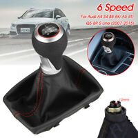 6 Speed Gear Shift Knob Gaitor Boot PU Leather For Audi A4 S4 B8 8K A5 8T Q5  /