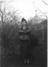 Vintage Snapshot Pretty Woman In Winter Clothes Fur Coat And Muff