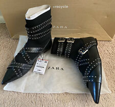 Zara Ankle Boot Black Sock Style With Buckle Allover Size 6.5 US/37 Brand New