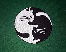 IRON PATCH LOGO embroidered sew BADGE EMBLEM CAT YIN YANG WHITE BLACK TAI CHI