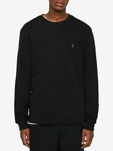 All Saints Mens Raven Black Crew Neck Designer Sweatshirt Sweater Jumper S - XXL
