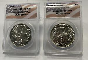 2001-P & D American Buffalo Silver $1 ANACS PR70DCAM & MS70  2 COIN SET